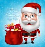 Santa Claus Cartoon Character Holding Bag completamente de presentes do Natal ilustração royalty free