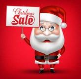 Santa Claus Cartoon Character Holding Christmas-Verkaufs-Plakat Lizenzfreie Stockfotografie
