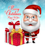 Santa Claus Cartoon Character Holding Collections of Christmas Gifts Stock Image