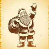 Santa Claus Cartoon Character Ink Print Hand Drawing Vintage Background Stock Photography