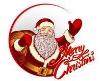 Santa Claus Cartoon Character Merry Christmas Lettering Sign Retro Vintage Stock Photos