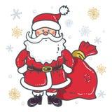 Santa Claus Cartoon Character met zak op de achtergrond van sneeuwvlokken op een witte achtergrond royalty-vrije illustratie