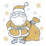 Santa Claus Cartoon Character mit Tasche auf dem Hintergrund des Goldes und der silbernen Schneeflocken lizenzfreie abbildung