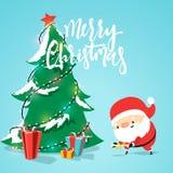 Santa Claus cartoon character, puts presents under the Christmas tree. Stock Photos