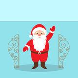 Santa Claus Cartoon Character with a raised right hand standing at the gate. Royalty Free Stock Image