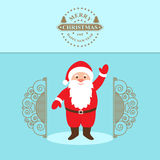 Santa Claus Cartoon Character with a raised right hand standing at the gate. Stock Photo