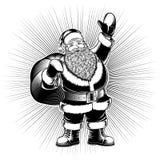 Santa Claus Cartoon Character Retro Ink Drawing Pop Art Monochrome Royalty Free Stock Photography