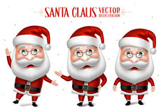 Santa Claus Cartoon Character Set för jul Arkivbilder