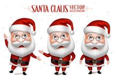 Santa Claus Cartoon Character Set für Weihnachten Stockbilder