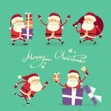 Santa Claus Cartoon Character Set Gift-Doos Royalty-vrije Stock Afbeeldingen