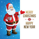 Santa Claus Cartoon Character Showing Merry-Kerstmis Tittle in Lege Ruimte wordt geschreven die Vector illustratie Stock Foto's