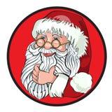 Santa Claus Cartoon Character Showing Merry-Weihnachten Tittle geschrieben in Leerstelle Stockbild