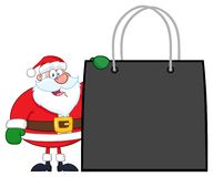 Santa Claus Cartoon Character Showing Shopping påse stock illustrationer