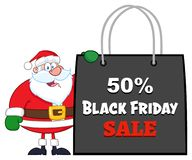 Santa Claus Cartoon Character Showing Shopping påse Black Friday stock illustrationer