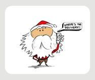 Santa Claus Cartoon Character thinking bubble - Where`s the deli Royalty Free Stock Photos