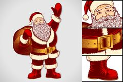 Santa Claus Cartoon Character Vintage Ink Drawing Pop Art Color Royalty Free Stock Photo
