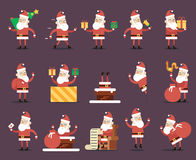 Santa Claus Cartoon Characters Poses Christmas New Year Icons Set Flat Design Stock Photos