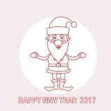 Santa Claus Cartoon Christmas New Year 2017 ferie gör linjen tunnare Royaltyfri Fotografi