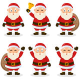 Santa Claus Cartoon Christmas Set. Collection of six cartoon Santa Claus characters in different positions and expressions, isolated on white background. Eps