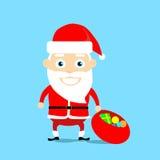 Santa Claus Cartoon Flat Christmas Holiday Stock Afbeelding