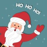 Santa Claus Cartoon Fondo de la Navidad con Papá Noel Feliz Navidad y Feliz Año Nuevo ¡Ho-Ho-Ho! Ejemplo del vector Fotos de archivo