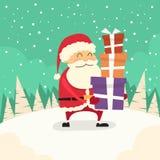 Santa Claus Cartoon Gift Box Christmas ferie royaltyfri illustrationer