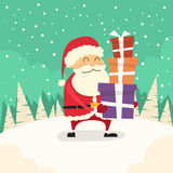 Santa Claus Cartoon Gift Box Christmas Holiday Royalty Free Stock Photo