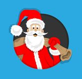 Santa Claus Cartoon inom cirkel stock illustrationer