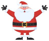 Santa Claus Cartoon Mascot Character Holding upp hans armar stock illustrationer