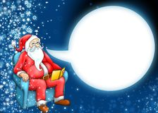 Santa claus and cartoon moon cloud. On dark blue background Royalty Free Stock Image