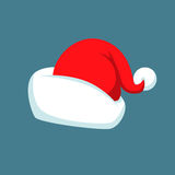 Santa Claus cartoon red hat silhouette in flat style isolated on blue background. Stock Photography