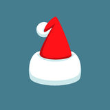 Santa Claus cartoon red hat silhouette in flat style isolated on blue background.  Royalty Free Stock Image