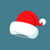 Santa Claus cartoon red hat silhouette in flat style isolated on blue background. Happy New Year 2016 symbol decoration Royalty Free Stock Images