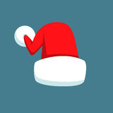 Santa Claus cartoon red hat silhouette in flat style isolated on blue background. Happy New Year 2016 symbol decoration Stock Image