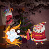 Santa Claus cartoon scene trying to control fire in fireplace. Concept illustration regarding christmas accidents and home security Royalty Free Stock Photos