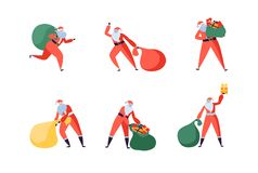 Santa Claus Cartoon Set. Santa with Gifts Flat Characters in Various Poses. Merry Christmas, New Year Greeting Card royalty free illustration