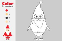 Santa Claus in cartoon style, color by number, christmas education paper game for the development of children, coloring page, kids. Preschool activity vector illustration