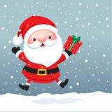 Santa Claus Cartoon tecken för julkort och baner stock illustrationer