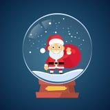 Santa Claus Cartoon Wish Glass Ball jul royaltyfri illustrationer