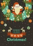 Santa Claus celebrating Christmas. Cute Santa Claus celebrating Christmas. Vector illustration Stock Photography