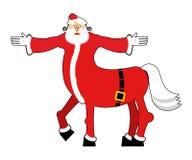 Santa Claus centaur. Santa monster. Half man half horse. Christm Royalty Free Stock Images
