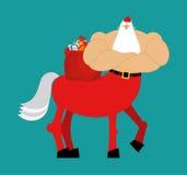 Santa Claus centaur. Santa monster. Half man half horse. Christm Stock Photos