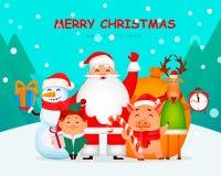 Santa Claus, cerdo, ciervos, muñeco de nieve y duende ilustración del vector