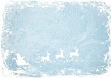 Santa Claus, cerfs communs sur les modèles de bleu de fond d'hiver Fond Photos stock