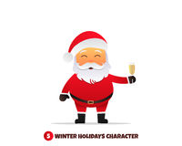 Santa Claus with champagne. Merry Christmas and Happy New Year. Santa Claus holding champagne glass in hand. Holiday vector illustration Stock Images