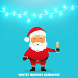 Santa Claus with champagne. Merry Christmas and Happy New Year. Santa Claus holding champagne glass in hand. Holiday vector illustration with garland Royalty Free Stock Images