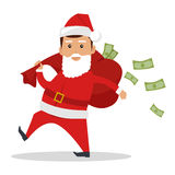 Santa Claus Character With Cash Concept Vector Stock Images