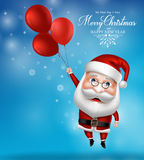 Santa Claus Character Holding Flying Balloons libre illustration