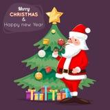 Santa Claus Character Icon Christmas Tree-Hintergrund-Karikatur-Gruß-Karten-Schablonen-Plakat-Vektorillustration Stockfotos