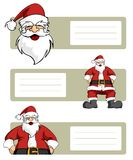 Santa Claus character lables. Happy Santa Claus planes variations with blank striped labels to write. White background. Vector illustration Stock Images